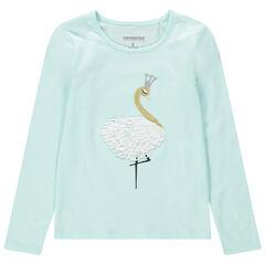 Μακρυμάνικη μονόχρωμη ζέρσεϊ μπλούζα με κεντημένο κύκνο