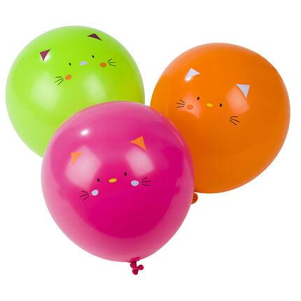 Σετ με 10 μπαλόνια γενεθλίων με σχέδιο γάτα