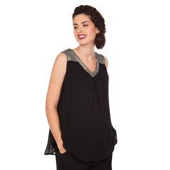 Αμάνικη μπλούζα εγκυμοσύνης με γυαλιστερές λεπτομέρειες