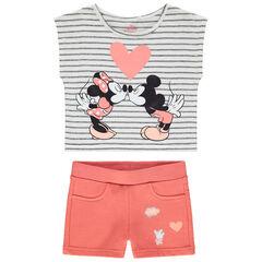 Σύνολο κοντομάνικη μπλούζα με στάμπα Mickey και Minnie της Disney και κοραλλί σορτς
