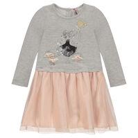 Φόρεμα από φανέλα και τούλι με όψη 2 σε 1 και στάμπα κούκλα