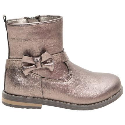 Χαμηλές μπότες από συνθετικό γυαλιστερό δέρμα με φιόγκο και φερμουάρ, από 24 έως 29