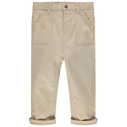 Μονόχρωμο υφασμάτινο παντελόνι με τσέπες