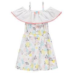 Φόρεμα με άνοιγμα στους ώμους, βολάν και μοτίβο σε χαβανέζικο στιλ