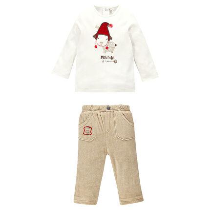 Ensemble tee-shirt manches longues print mouton et pantalon velours