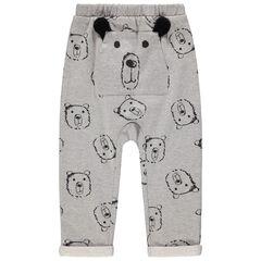 Παντελόνι φόρμας από φανέλα με μοτίβο κεφάλια από αρκουδάκια