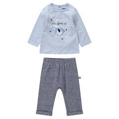 Σύνολο μπλούζα με στάμπα ελέφαντα και μελανζέ παντελόνι