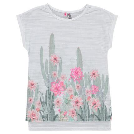 Tee-shirt manches courtes print cactus et fleurs