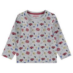 Μακρυμάνικη εμπριμέ ζέρσεϊ μπλούζα με μοτίβο σε στυλ κόμικ