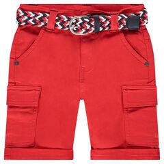Κόκκινη βαμβακερή βερμούδα με αφαιρούμενη ζώνη σε σχέδιο πλεξίδας