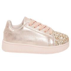 Αθλητικά παπούτσια με κορδόνια και παγιέτες - απαλό ροζ - μεγέθη από 22 έως 27