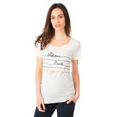 Κοντομάνικη μπλούζα εγκυμοσύνης με φαντεζί κείμενο