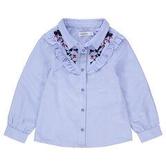 Μακρυμάνικο πουκάμισο με λεπτές ρίγες σε όλη την επιφάνεια και κεντήματα