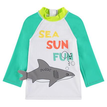 Μαγιό-μπλούζα με αντηλιακή προστασία με τυπωμένο καρχαρία και μήνυμα