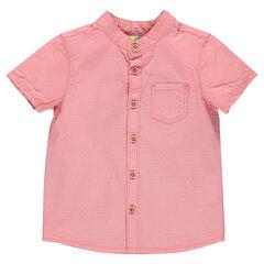 Κοντομάνικο βαμβακερό πουκάμισο με σχέδιο ύφανσης και γιακά μάο