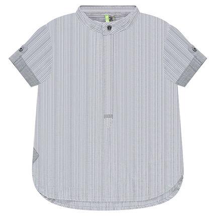 Κοντομάνικο ριγέ πουκάμισο με μάο γιακά