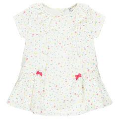 Κοντομάνικο φόρεμα με εμπριμέ μοτίβο και φιογκάκια