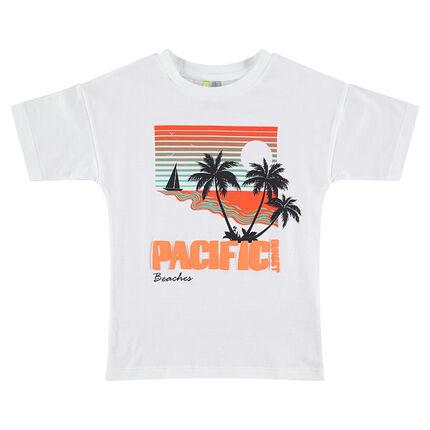 Κοντομάνικη μπλούζα με τυπωμένο τοπίο και φοίνικα