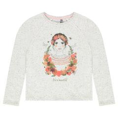 Παιδικά - Φανελένιο γκρι μελανζέ φούτερ με φαντεζί τύπωμα