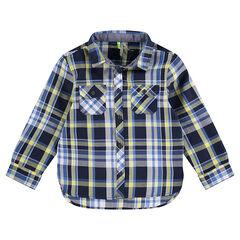 Μακρυμάνικο πουκάμισο με μεγάλα καρό σε μπλε/πράσινο και τσέπες