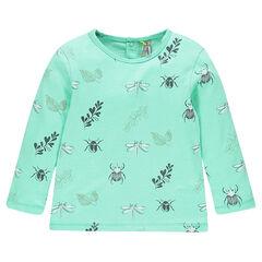 Μακρυμάνικη μπλούζα ζέρσεϊ με διάσπαρτο σχέδιο με έντομα