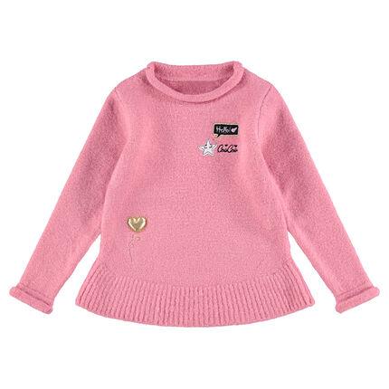 Πλεκτό απαλό πουλόβερ σε εβαζέ γραμμή με διακοσμητικά μοτίβα