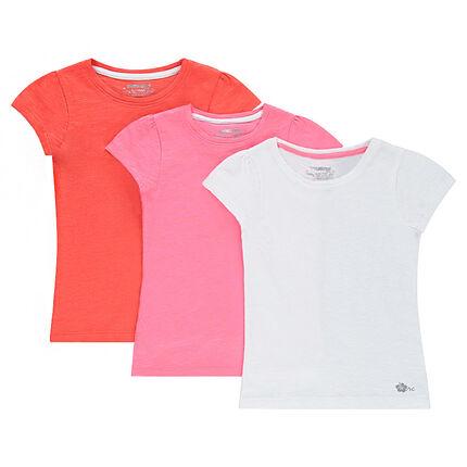 Σετ με 3 μονόχρωμες κοντομάνικες μπλούζες από ζέρσεϊ