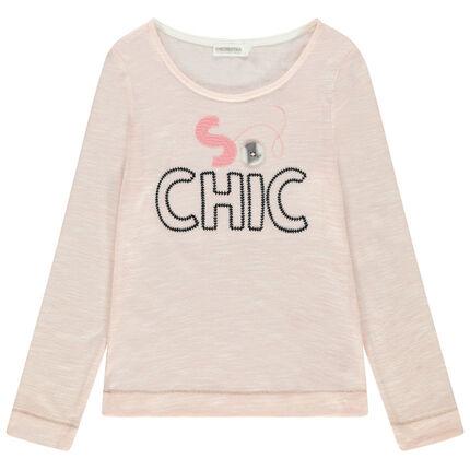 Μακρυμάνικη μελανζέ μπλούζα με κεντημένα γράμματα και φαντεζί κουμπί
