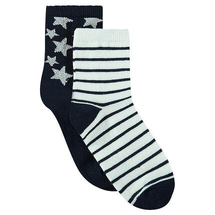 Σετ με 2 ζευγάρια κάλτσες με αστέρια/ρίγες