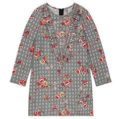 Παιδικά - Μακρυμάνικο φόρεμα με καρό μοτίβο και λουλούδια σε όλη την επιφάνεια