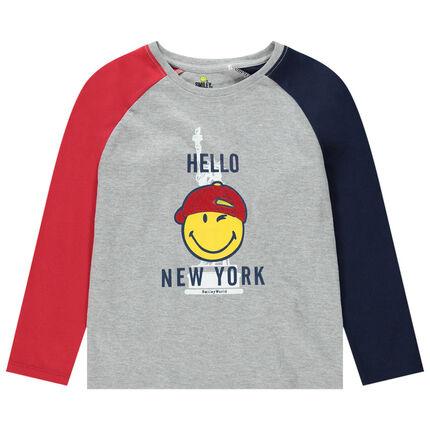 Μακρυμάνικη ζέρσεϊ μπλούζα με μανίκια σε αντίθεση και στάμπα Smiley