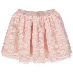 Κοντή φούστα από τούλι με κεντημένα λουλούδια και μεταλλιζέ ζώνη στη μέση