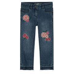 Παιδικά - Τζιν με φθαρμένη όψη και κεντημένα τριαντάφυλλα