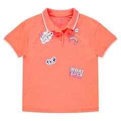 Πορτοκαλί κοντομάνικη μπλούζα με διακοσμητική στάμπα