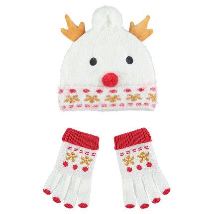 Πλεκτό σύνολο σκούφος και γάντια με επένδυση από sherpa σε μορφή χιονάνθρωπου