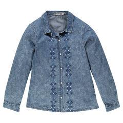 Junior - Chemise délavée en chambray avec broderies