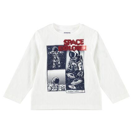 Μακρυμάνικη μπλούζα ζέρσεϊ με μοτίβο και «μαγικές πούλιες»