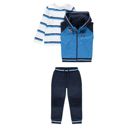Φόρμα 3 τεμαχίων με ριγέ μπλούζα, αμάνικη ζακέτα και μονόχρωμο παντελόνι