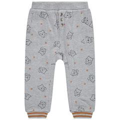 Παντελόνι φόρμας από φανέλα με ζέρσεϊ επένδυση και εμπριμέ μοτίβο αλεπούδες