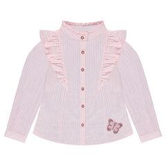 Μακρυμάνικο πουκάμισο ριγέ με βολάν και πεταλούδα από πούλιες