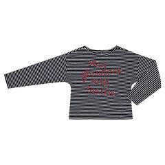 Παιδικά - Μακρυμάνικη μπλούζα ριγέ με μήνυμα με παγιέτες