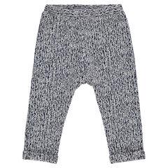 Pantalon en maille jacquard effet fantaisie