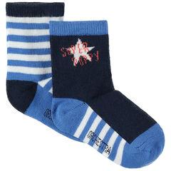 Σετ 2 ζευγάρια κάλτσες με ζακάρ ρίγες και αστέρι