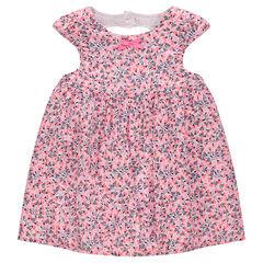 Κοντομάνικο φόρεμα με φλοράλ μοτίβο και άνοιγμα στην πλάτη