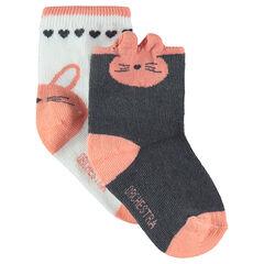 Σετ με 2 ζευγάρια ασορτί κάλτσες με ζακάρ μοτίβο κουνελάκι