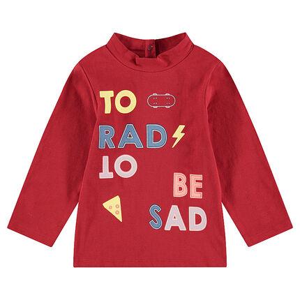 Μακρυμάνικη μπλούζα με όρθιο λαιμό και φαντεζί τύπωμα