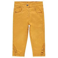 Μονόχρωμο βαμβακερό παντελόνι με επένδυση ζέρσεϊ και βολάν στο τελείωμα
