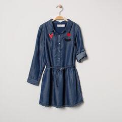 Μακρυμάνικο φόρεμα από tencel με κεντήματα