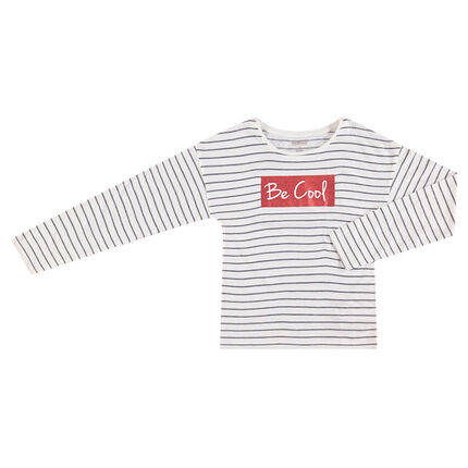 Μακρυμάνικη μπλούζα με ζακάρ και στάμπα με παγιέτες