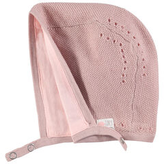 Πλεκτός σκούφος με ζέρσεϊ ροζ επένδυση